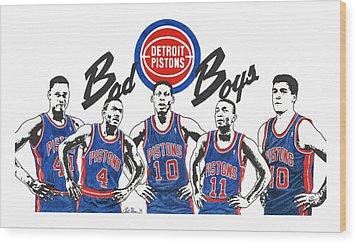 Detroit Bad Boys Pistons Wood Print