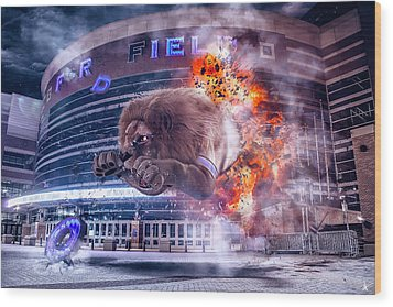 Wood Print featuring the photograph Detroit Lions At Ford Field 2 by Nicholas Grunas
