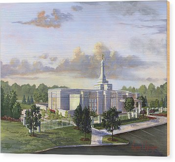 Detroit Michigan Temple Wood Print by Jeff Brimley