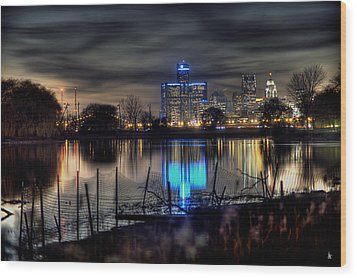 Detroit Reflections Wood Print by Nicholas  Grunas