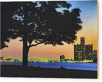 Detroit River View Wood Print by Dennis Cox WorldViews