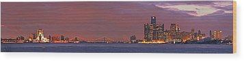 Detroit Skyline Wood Print by Michael Peychich