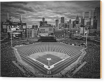 Detroit Tigers Comerica Park Bw 4837 Wood Print by David Haskett