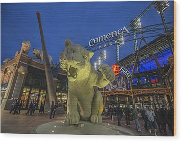 Detroit Tigers Comerica Park Front Gate Tiger Wood Print by David Haskett