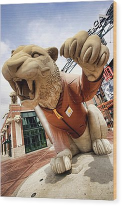 Detroit Tigers Tiger Statue Outside Of Comerica Park Detroit Michigan Wood Print by Gordon Dean II
