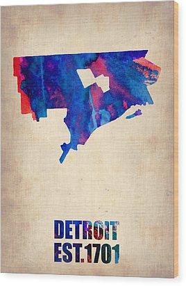 Detroit Watercolor Map Wood Print by Naxart Studio