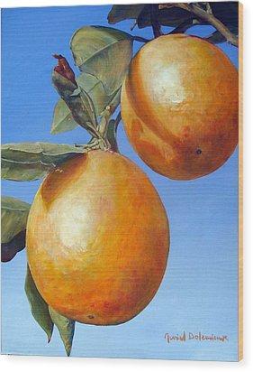 Deux Oranges Wood Print by Muriel Dolemieux