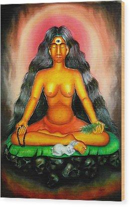 Devi Kali Goddess Wood Print by Sri Mala