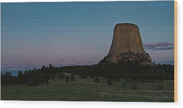 Wood Print featuring the photograph Devil's Tower At Dusk by Gary Lengyel