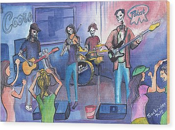 Wood Print featuring the painting Dewey Paul Band by David Sockrider