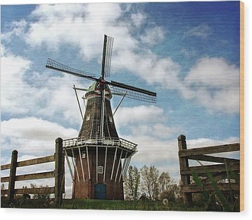 Wood Print featuring the photograph Dezwaan Windmill With Fence And Clouds by Michelle Calkins