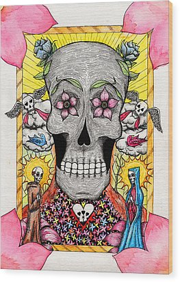 Wood Print featuring the painting Dia De Los Muertos by Josean Rivera
