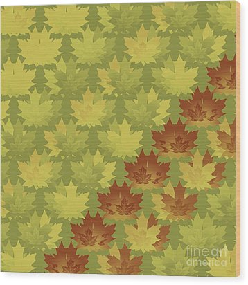 Wood Print featuring the digital art Diagonal Leaf Pattern by Methune Hively