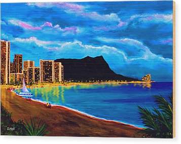 Diamond Head And Waikiki Beach By Night #92 Wood Print by Donald k Hall