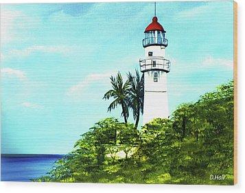 Diamond Head Lighthouse #10 Wood Print by Donald k Hall