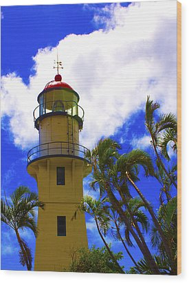 Diamond Head Lighthouse Wood Print by Rob Tullis