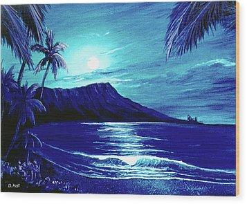 Diamond Head Moon #123 Wood Print by Donald k Hall