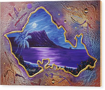 Diamond Head Moon Oahu #141 Wood Print by Donald k Hall