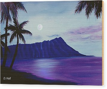 Diamond Head Moon Waikiki #34 Wood Print by Donald k Hall