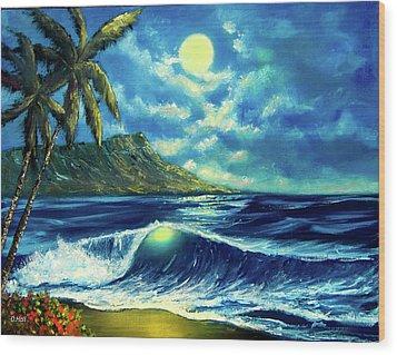 Diamond Head Moon Waikiki Beach #407 Wood Print by Donald k Hall
