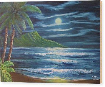 Diamond Head Moon Waikiki Beach  #409 Wood Print by Donald k Hall
