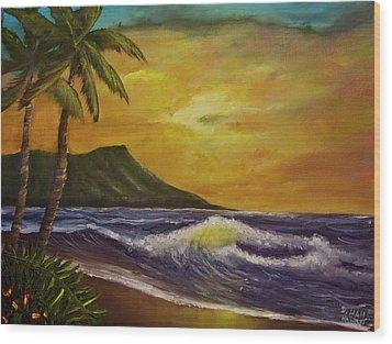 Diamond Head Sunrise Oahu #414 Wood Print by Donald k Hall