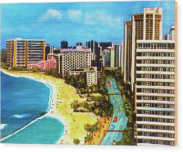 Diamond Head Waikiki Beach Kalakaua Avenue #94 Wood Print by Donald k Hall
