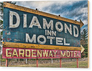 Diamond Inn Motel Sign Wood Print by Robert  FERD Frank