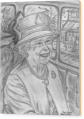 Wood Print featuring the drawing Diamond Jubilee by Teresa White