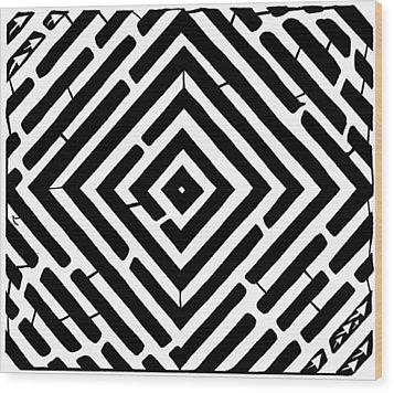 Diamond Shaped Optical Illusion Maze Wood Print by Yonatan Frimer Maze Artist