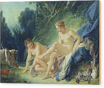 Diana Getting Out Of Her Bath Wood Print by Francois Boucher