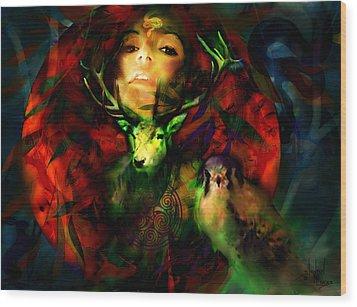 Dianas Blood Moon Wood Print by Stephen Lucas