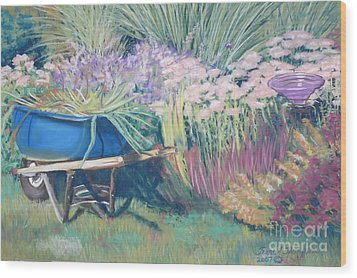Wood Print featuring the pastel Diana's Garden by Terri Thompson