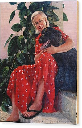 Wood Print featuring the painting Diane And Cinder by Donelli  DiMaria
