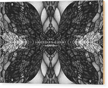 Wood Print featuring the drawing Didgitized Ballpoint Butterfly Effect by Jack Dillhunt