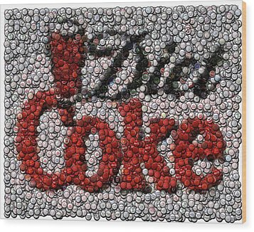 Diet Coke Bottle Cap Mosaic Wood Print by Paul Van Scott