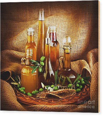 Different Salad Dressings Wood Print