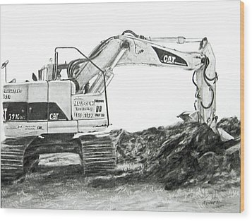 Wood Print featuring the drawing Dig by Meagan  Visser
