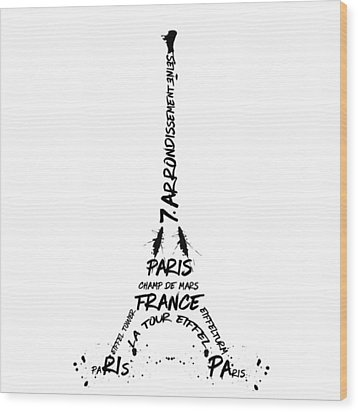 Digital-art Eiffel Tower Wood Print by Melanie Viola