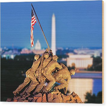 Digital Composite, Iwo Jima Memorial Wood Print by Panoramic Images