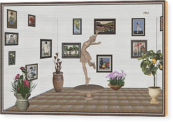 digital exhibition _ A sculpture of a dancing girl 14 Wood Print