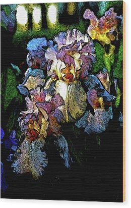 Digital Expressionist Painting Pale Pink Irises 6702 W_4 Wood Print