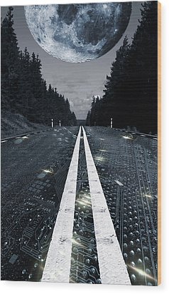 Wood Print featuring the photograph Digital Highway And A Full Moon by Christian Lagereek