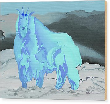 Wood Print featuring the digital art Digital Mountain Goat 2 by Kae Cheatham