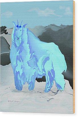 Wood Print featuring the digital art Digital Mountain Goat by Kae Cheatham