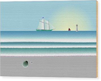 Digital Shoreline 1 Wood Print by Steve Smyth