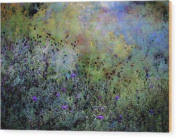 Digital Watercolor Field Of Wildflowers 4064 W_2 Wood Print