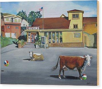 Dillion Beach Cows Wood Print by Kathryn LeMieux