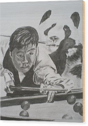 Ding Junhui Snooker Wood Print by James Dolan