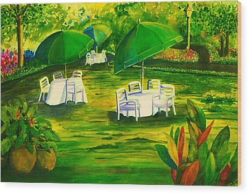 Dining In The Park Wood Print